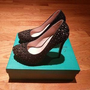 Lauren Lorraine Vanna Black Sparkle Heels